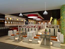 modern and luxury restaurant interior design with great red