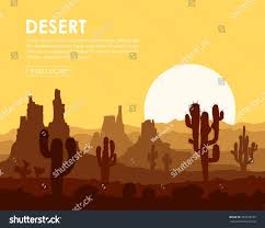 landscape yellow sunset stone desert cactuses stock vector