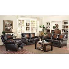 brown leather living room sets arlington 3 piece top grain leather living room set with pushback