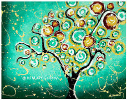 whimsical turquoise tree of print 11x14 signed on luulla
