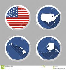 set of usa country shape with flag icons flat style stock vector