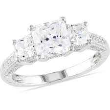 Sterling Silver Wedding Rings by Miabella 5 1 6 Carat T G W Square And Round Cut Cubic Zirconia