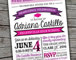 high school graduation party invitations grad party invite etsy