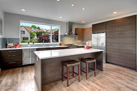 contemporary kitchen with breakfast bar by isola homes zillow