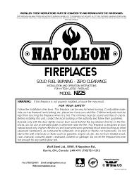 napoleon fireplaces nz25 user u0027s manual