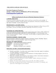 Career Objective For Resume Mechanical Engineer Equipment Engineer Sample Resume Haadyaooverbayresort Com