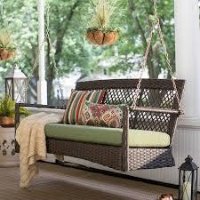 belham living asheville 4 9 ft resin wicker porch swing with