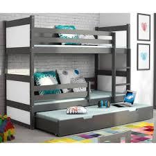 chambre enfant cdiscount lit superposé 3 en pin 200x90 gris achat vente lits