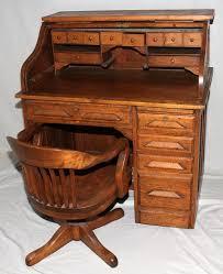Oak Crest Desk American Oak Roll Top Desk With Chair Early 20 Home Furnishing