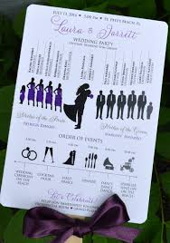 wedding program book silhouette wedding program fans purple many color design options