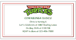teenage mutant ninja turtle party ideas with invitations