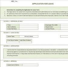 sample leave application form leave application form template
