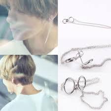 earrings for boys 2pc kpop bts v earrings bangtan boys v stud ring chain