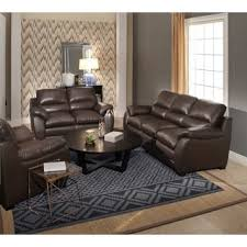Brown Leather Sofa And Loveseat Abbyson Monarch 3 Piece Top Grain Leather Sofa Set Free Shipping