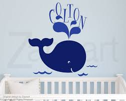 Baby Name Wall Decals For Nursery by Children Wall Decal Baby Whale With Name Vinyl Decal