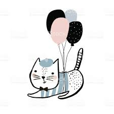 cute cat illustration with balloons hand drawn with brush and ink