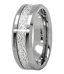 meteorite mens wedding band meteorite ring tungsten carbide for men 8mm comfort fit wedding