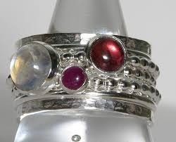 stackable birthstone rings pink tourmaline ruby rainbow moonstone gemstone birthstone rings