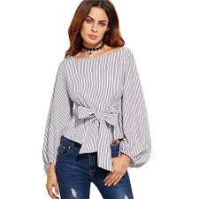 bow tie blouse 2018 blouses black and white striped sleeve womens tops