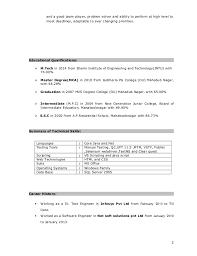 Testing Tools Resume Selenium Resume