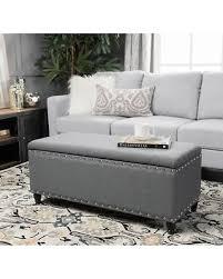 Grey Fabric Storage Ottoman Amazing Deal On Tatiana Studded Fabric Storage Ottoman Bench By