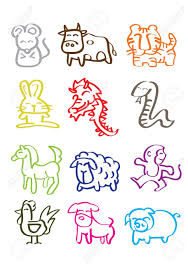 a vector illustration of chinese zodiac signs royalty free