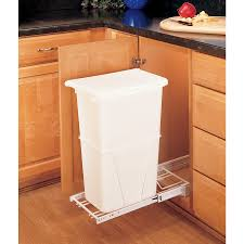 kitchen cabinet garbage can shop rev a shelf 50 quart plastic pull out trash can at lowes com