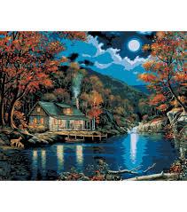 Lake Cabin Kits Plaid Paint By Number Kit 16 U0027 U0027x20 U0027 U0027 Lakeside Cabin Painting