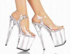 Wedding Shoes Heels Image Crystal Sandals Thick Bottom High Heels Silver