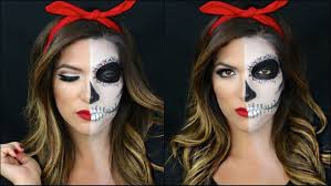 Halloween Skeleton Faces by Half Skull Half Pin Up Halloween Makeup Tutorial Youtube