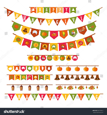 Thanksgiving Flags Happy Thanksgiving Holiday Decorations Set Flat Stock Vector