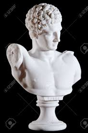 classic white marble bust element of statue hermes and the infant