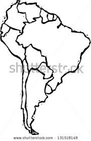 map of and south america black and white black white vector illustration map south stock vector 131518148