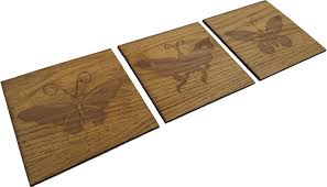 set of 3 engraved wooden butterfly plaques wall decor