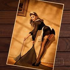 pin up girl home decor sexy maid pin up girls vintage retro canvas painting poster diy