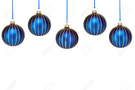 five blue and gold ornaments form a top border isolated