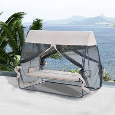 outsunny 3 person covered outdoor swing chair hammock bed w heavy