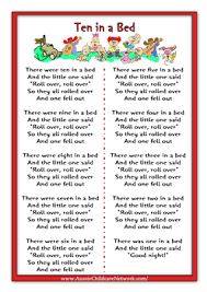 ten in a bed rhymes worksheets starting your daycare pinterest