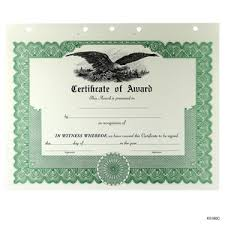 blank stock membership and award certificates from blumberg excelsior