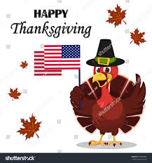 Thanksgiving Flags Thanksgiving Greeting Card Turkey Bird Wearing Stock Vector