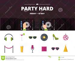 night club cocktail party disco music icon set vector flat stock