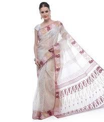dhakai jamdani saree buy online samayra white with color muslin cotton dhakai jamdani