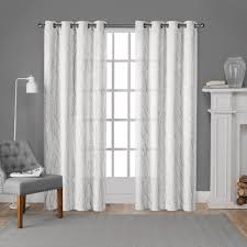White Window Curtains Woodland Winter White Silver Printed Metallic Branch Sheer