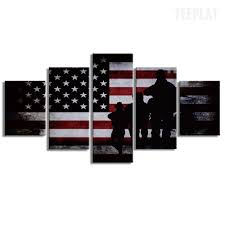 Maroon And White Flag American Flag And Soldiers Painting 5 Piece Canvas Empire Prints
