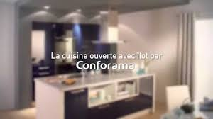cuisine avec la cuisine ouverte avec îlot conforama