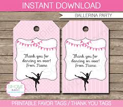 favor tags ballerina party favor tags thank you tags birthday party