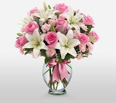 Lily Bouquet Rose And Lily Bouquet Pink Roses International Flowers Online