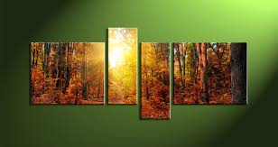4 piece yellow sunrise scenery multi panel art