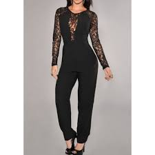 s jumpsuits lace splicing fashionable neck sleeve s jumpsuits