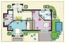 house plan top view of a second floor stock vector art 484034469